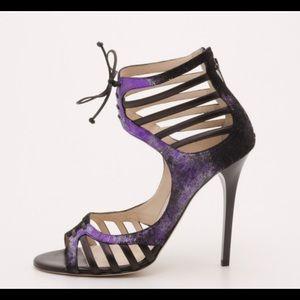 Jimmy Choo black & purple Darcy heels sandals 5.5